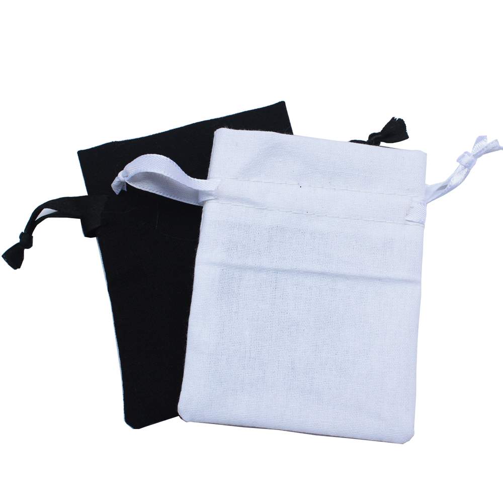 Image 2 - (50pcs/lot)  125g/m2 black & white drawstring promotional bags cotton drawstring pouch recycle bag customize-in Gift Bags & Wrapping Supplies from Home & Garden