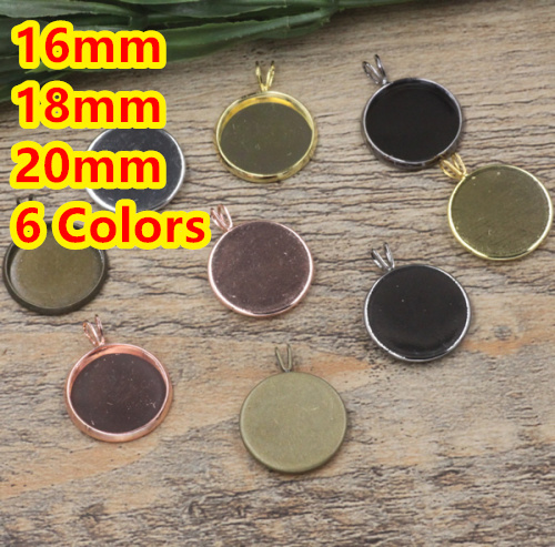 16mm18mm,20mm 100pcs Bronze/Silver/Gold/Black Blank Pendant Hanger Trays Bases Cameo Cabochon Setting for Glass/Stickers