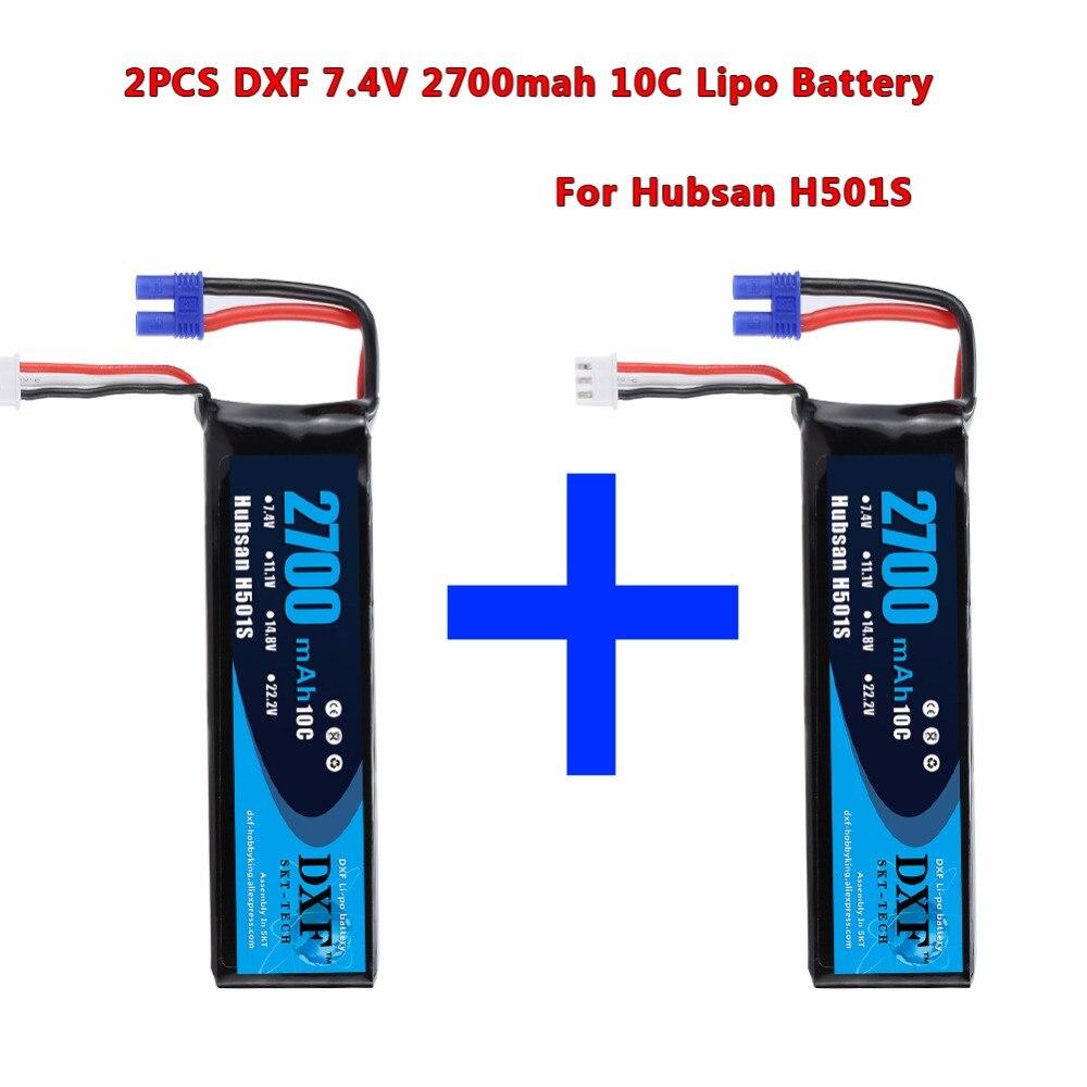 DXF 2 stücke 7,4 v 2700 mah 10C Batterie RC LiPo Batterie Hohe Qualität Hubsan H501S H501C X4 RC Quadcopter ersatzteile