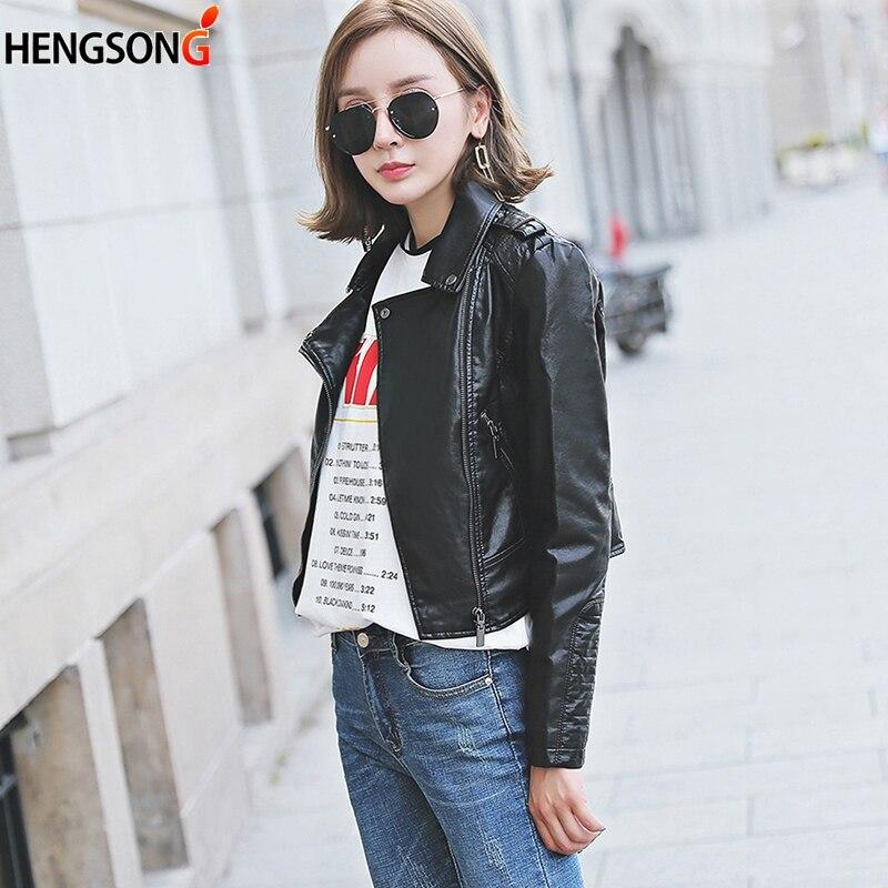 Spring And Autumn Women Short Pu Leather Jacket Motorcycle Locomotive Wild Leather Coat Female Fashion Zipper Pocket Slim Jacket