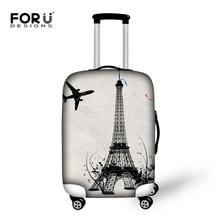 Paire Tour Eiffel Imprimer Bagages Housses De Protection Pour 18-30 Pouce Voyage Chariot Cas Élastique Épaissir Étanche Valise Couvre