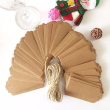 100PCS Natural Brown Kraft Paper Tags With Jute Twine Wedding Party Gift Tags DIY Label wedding