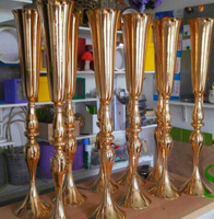 Luxury Shiny Gold Table centerpiece metal flower vase Wedding decoration 88cm Tall 10pcs/lot