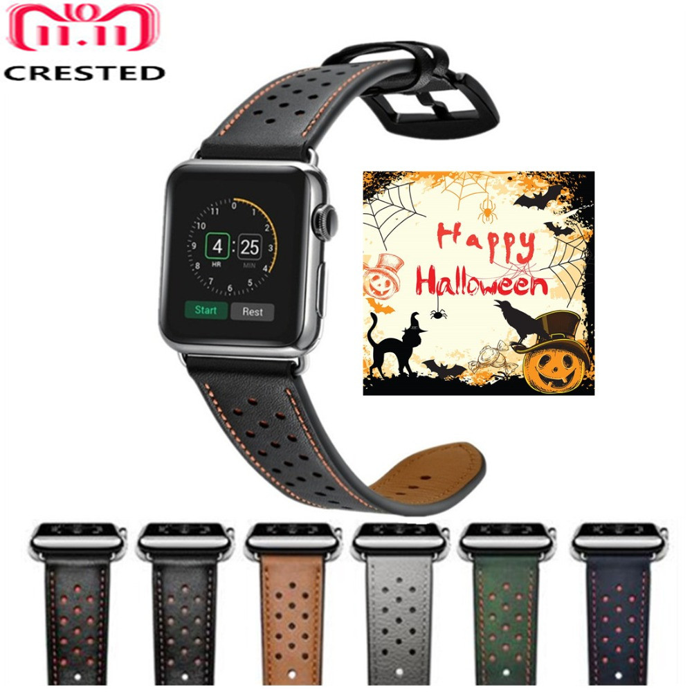 CRESTED Echtem Leder strap Für Apple Uhr 4 Band 44mm/40mm correa iwatch Serie 3 2 1 42mm/38mm sport handgelenk armband gürtel