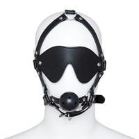 Venda quente de couro sexo adulto máscara de olhos vendados com anel bola da mordaça capô bdsm bondage fetiche desgaste adulto jogos de sexo brinquedos para casais
