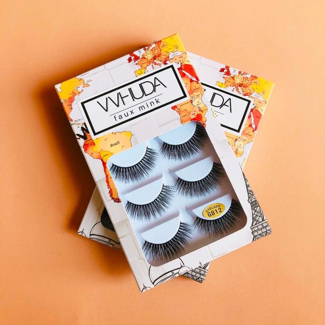 VVHUDA  Lashes Handmade False Eyelashes Set Professional 5Pairs Eyes Fake Eyelashes Pack Natural WispySoft Comfortable Multipack