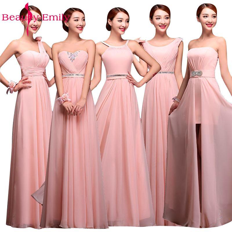 Beauté Emily vente chaude robes De demoiselle d'honneur rose 2019 robes De mousseline De soie robes De fête De mariage longueur De plancher élégant