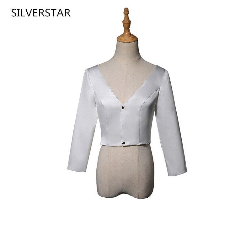 White Satin Long Sleeve Wedding Bolero Bridal Jacket  v neck Bridal Coat Wraps Women Cape Jacket