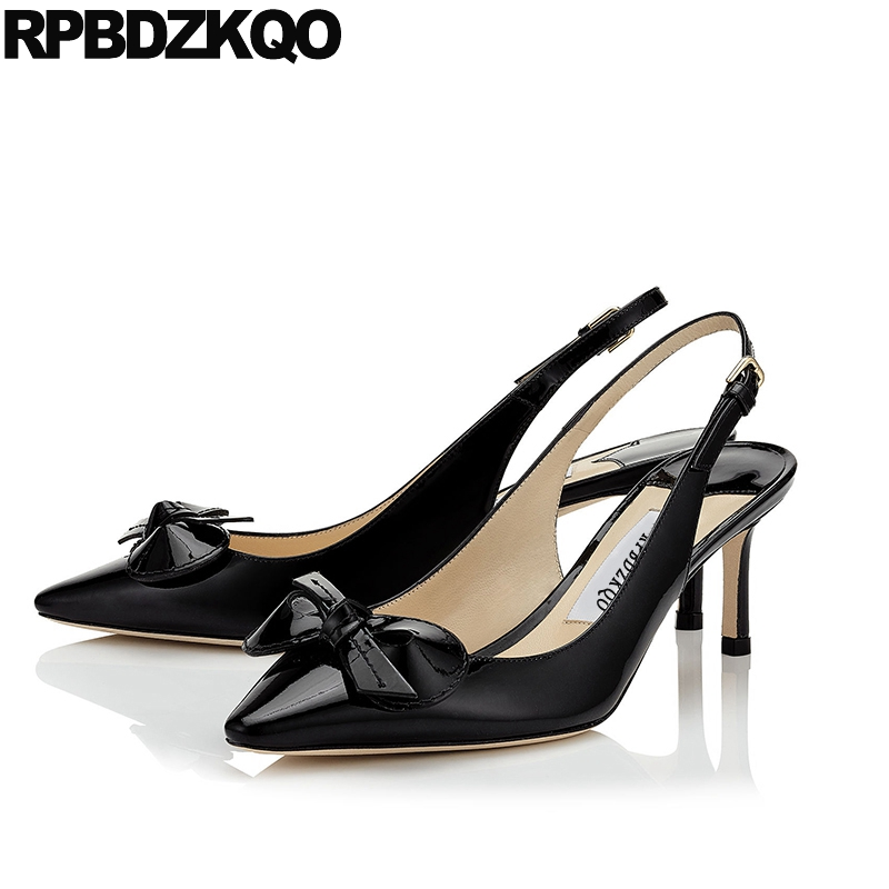 Size 33 Shoes Big Women Pumps 2017 Strap Bow 3 Inch High Heels China Pointed Toe Thin Slingback Luxury Black Patent Leather New small size high heels sexy pumps 33 4 34 thin abnormal 2017 big 12 44 multi colored leopard shoes women pointed toe evening