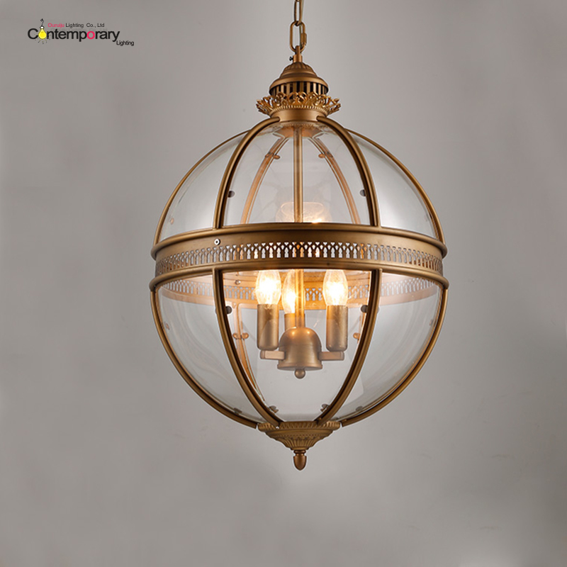 American Vintage Loft Glass Globe Pendant Light Iron Round