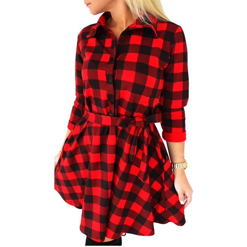 2019 Fashion Women Long Sleeve Short Dress 3/4 Sleeve Shirt Dress Plaid & Checked Dress