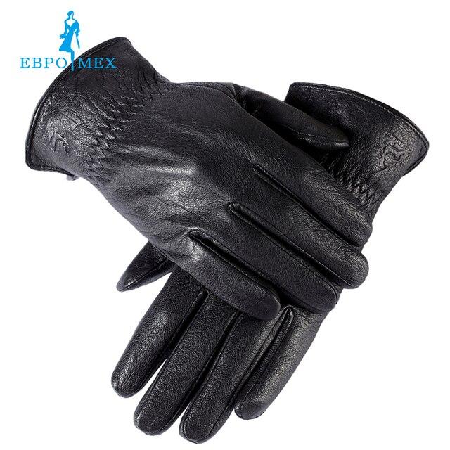 ffde46b741672c Verkopen goed handschoenen mannelijke, Echt Leer, winter handschoenen, heren  zwarte handschoenen, Warm