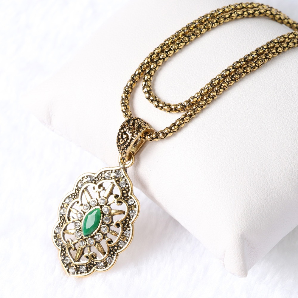 Yunkingdom Top Quality Vintage Fashion  Gold Color 3 Color Resin Pendant &Necklace  Ethnic Women Jewelry