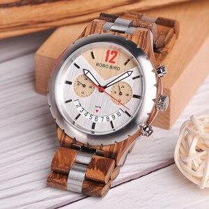 Image 3 - Bobo bird 럭셔리 우드 남성 시계 브랜드 방수 스테인레스 스틸 시계 날짜 표시 orologi acciaio uomo