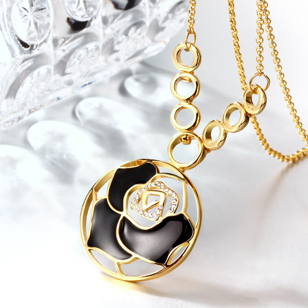 Noble and hollow petals Czech stone ladies necklace PN859-A yellow perfect lady 925 sterling silver fashion necklace