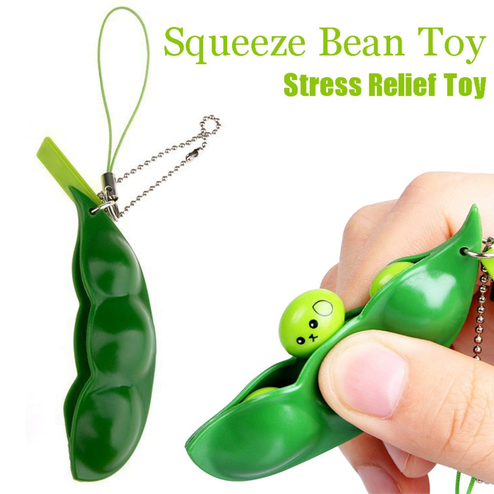Fun Squishy Infinite Squeeze Edamame Bean Pea Expression Chain Key Pendant Ornament Stress Relieve Decompression Toys Antistress