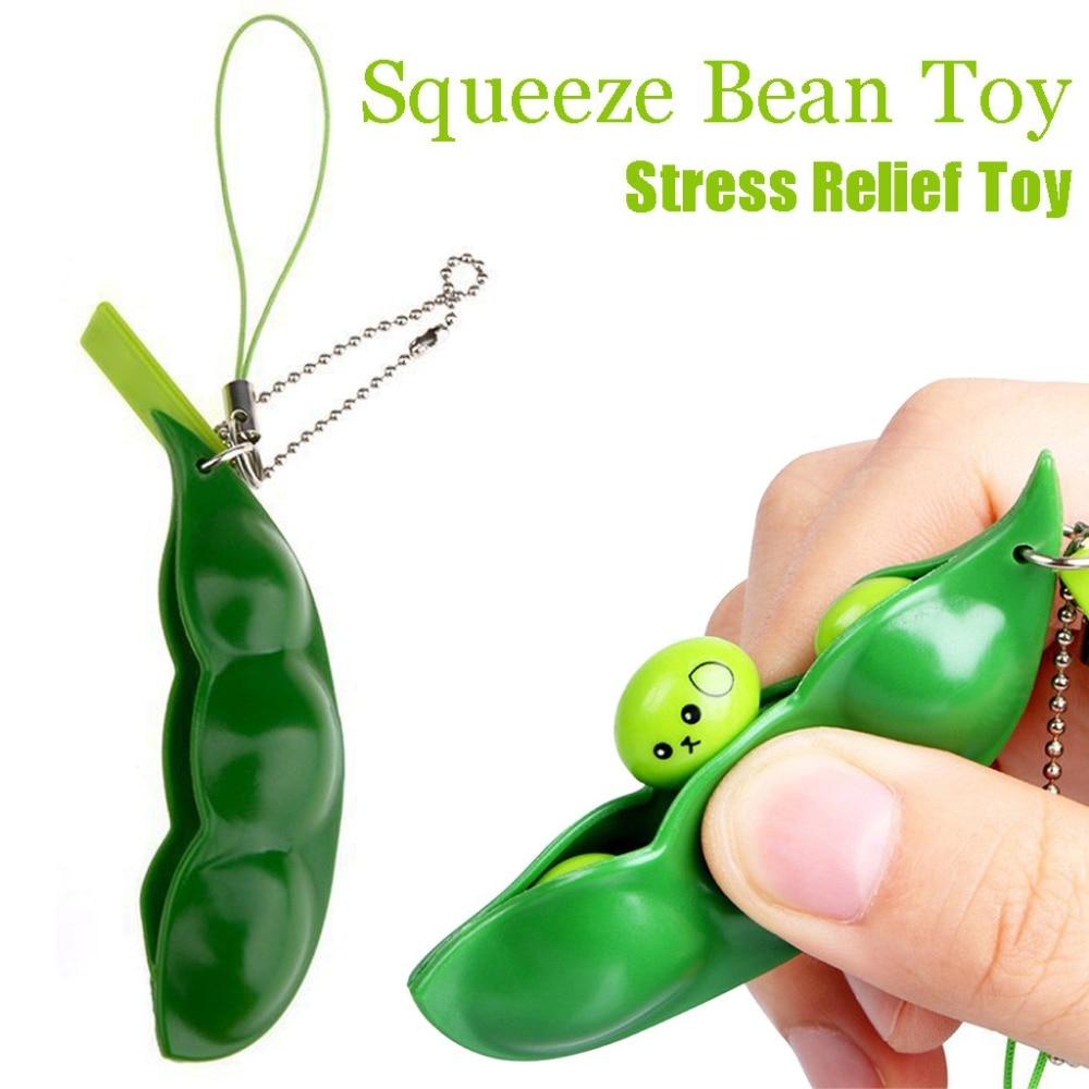Fun Squishy Infinite Squeeze Edamame Bean Pea Expression Chain Key Pendant Ornament Stress Relieve Decompression Toys antistress