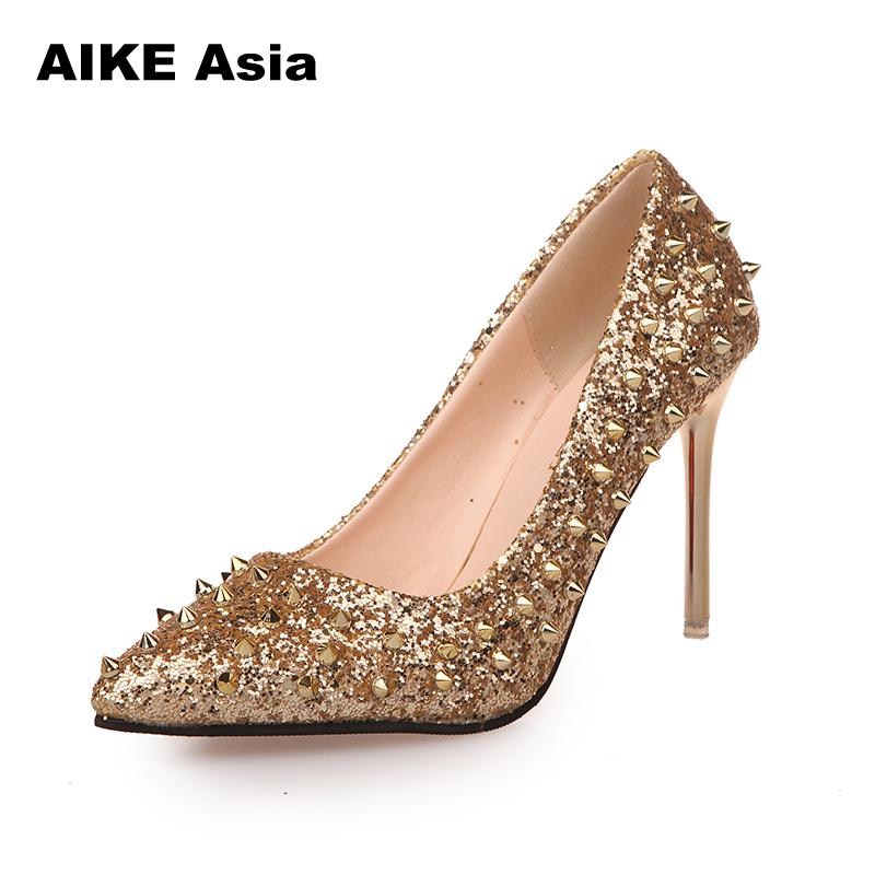 2018 New Women Pumps Pointed Toe High Heels Shoes Luxury Designer Rivets Wedding Bridal Womens With Sequined Cloth #805