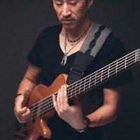 Amumu Grey Guitar Strap Hight Quality Foam For Electric Bass PU Leather 116 138 Cm Adjustable