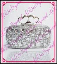 Aidocrystal fancy weiß strass kristall handtasche herzform schnalle funky hochzeit taschen