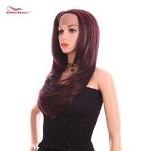24inch Длинные Слоистые Натуральные Прямые Синтетические Волосы Светлые Парики Фронта Шнурка Тепло