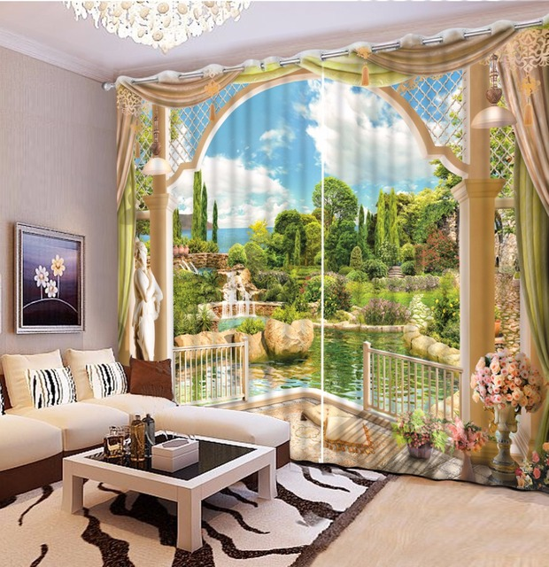 Garden Scenery 3D Bedroom Curtains beautiful Curtains For Living ...