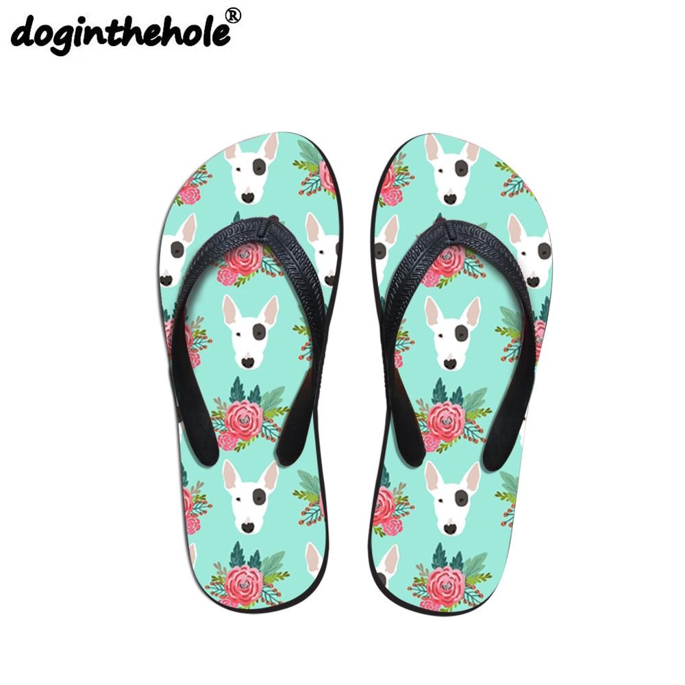 Doginthehole Sport Sandals Women Flip Flops Pit Bull Terrier Printing Outdoor Sandals Slippers Sport Flat Beach Shoes Summer New