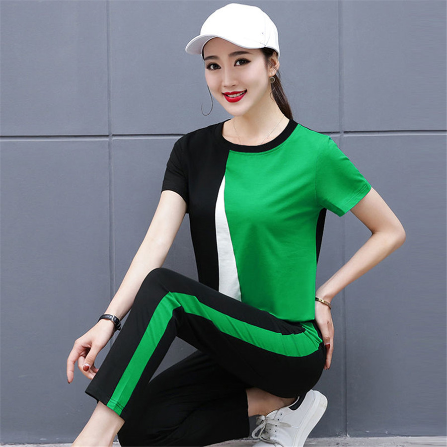 Two Piece Set Women 2019 Summer Sportswear Suit Set Casual Sweatshirt And Pants Tracksuit Short Sleeve Sporting Outfit