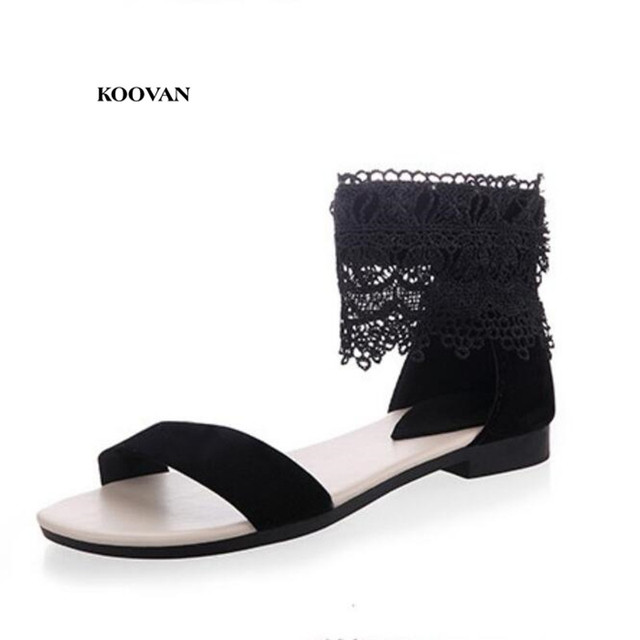 65476b78bd0b40 Koovan 2018 New Fashion White Lace Open-toed Sandals Women Shoes Head Roman Ladies  Sandals Girls Shoes