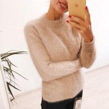 Suéter de cachemira de visón auténtico para mujer, jerséis de cachemir de visón con cuello alto, 100%, envío gratis, JN465