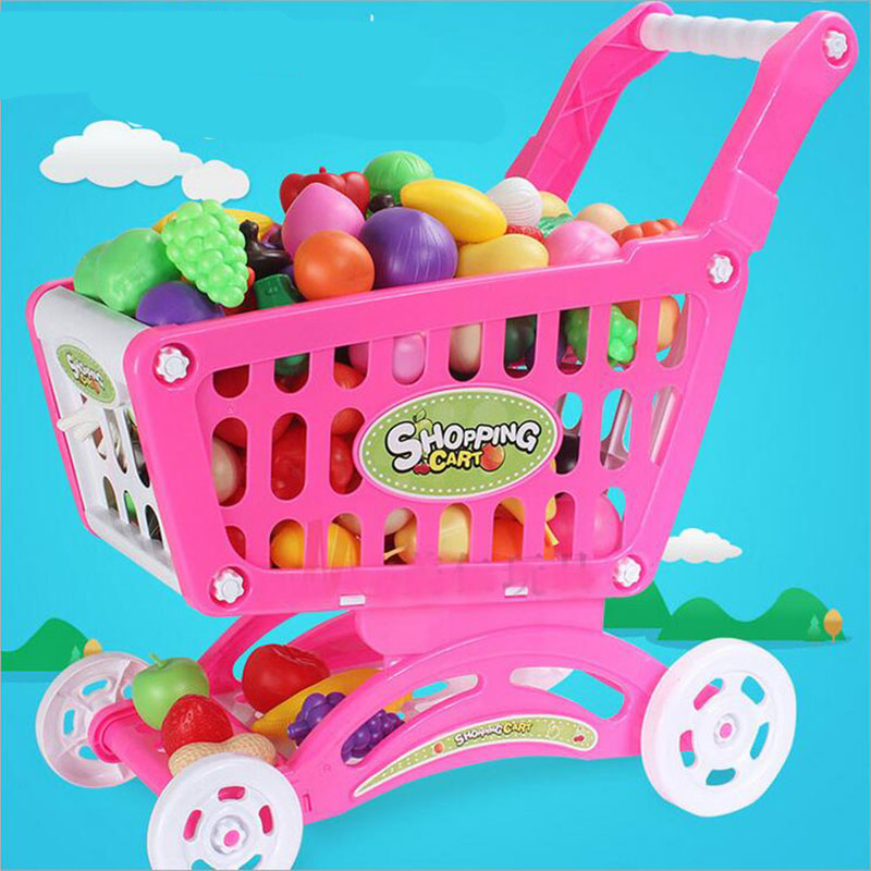 Free Shipping Hot Kids Childrens Shopping Trolley Cart Basket Play Toy Plastic Fruit Gift