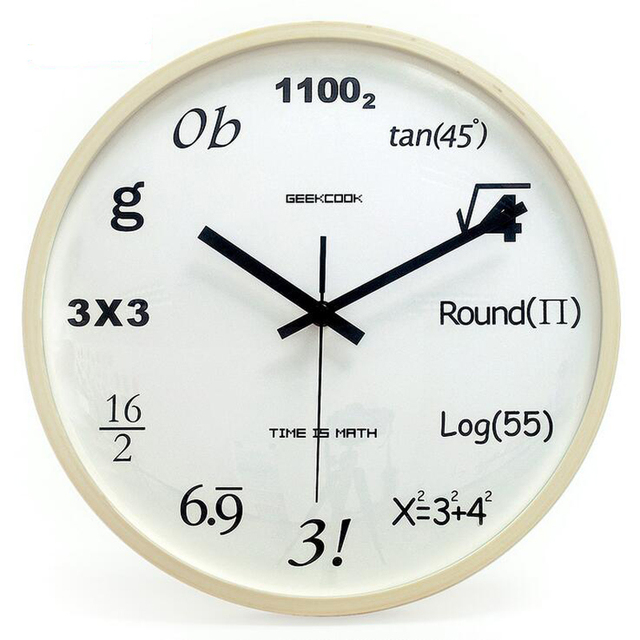 31.5cm Large Wooden Wall Clock Funny Math Time Home Decorative Watch Silent  Non Ticking Mute