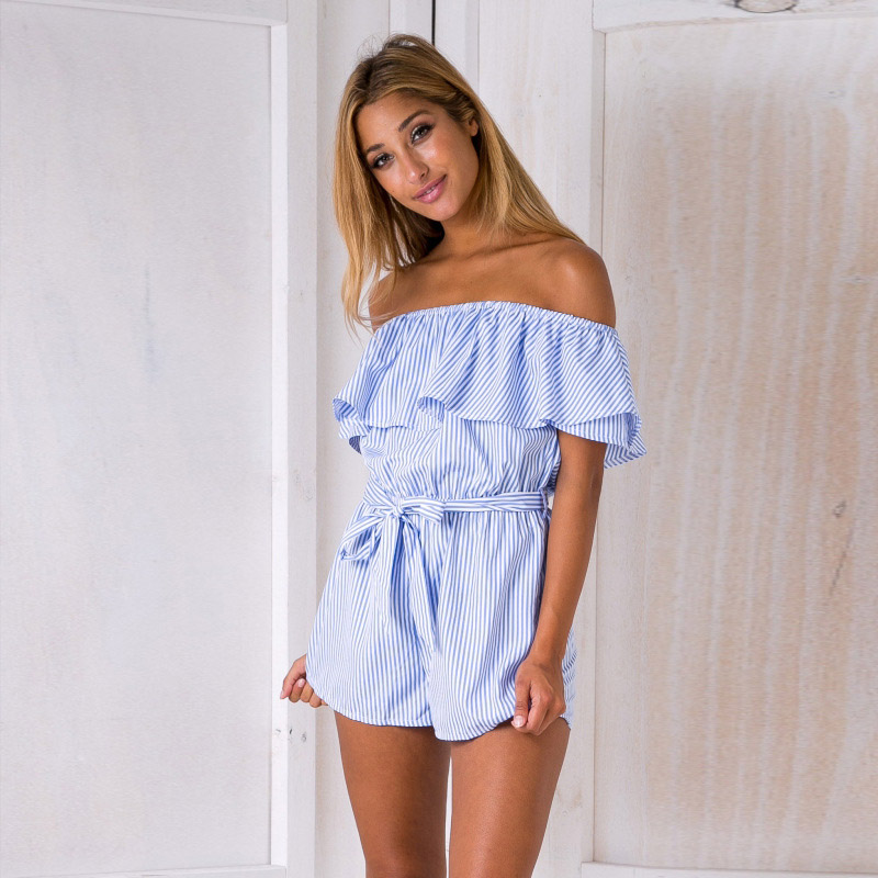 Newly Sexy Women Off Shoulder Ruffle Striped Short   Jumpsuits   Summer Beach Playsuit Overalls Clothes