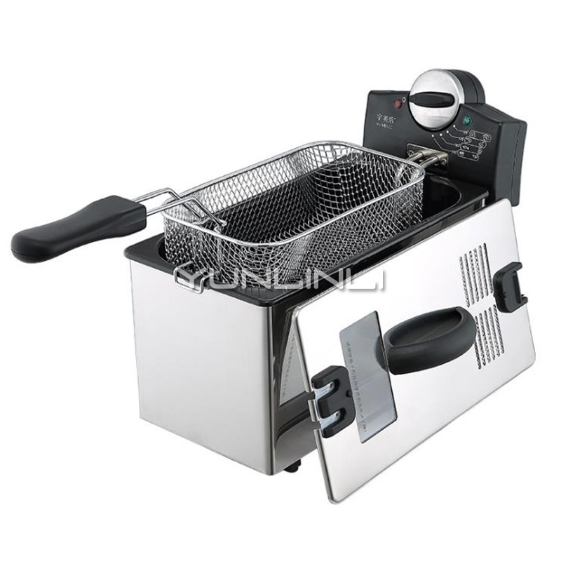 Household Electric Deep Fryer Single-tank Frying Cooker Stainless Steel Frying Oven HF-1106Household Electric Deep Fryer Single-tank Frying Cooker Stainless Steel Frying Oven HF-1106