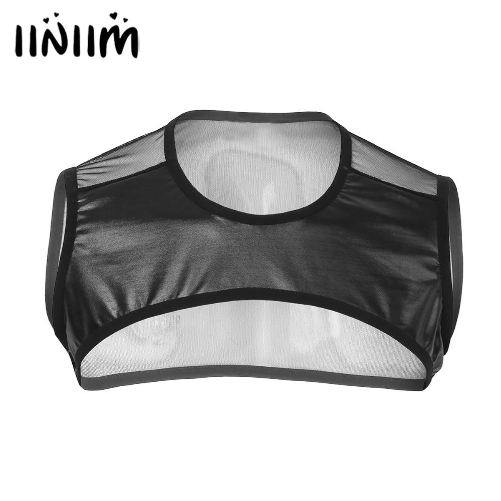 iiniim Mens Patchwork Sleeveless Sheer Mesh See-through Muscle Half   Tank     Top   Vest Harness Clubwear Night Party Costume Crop   Tops
