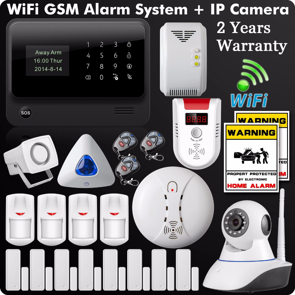 DHL Free Shipping 2LCD IOS Android Wifi GSM GPRS Alarm System433MHz WIfi IP Camera Wireless Gas Detector Strobe Flashing Siren
