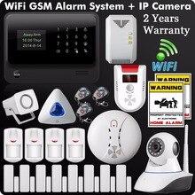 DHL Бесплатная доставка 2 «ЖК-дисплей IOS Android Wi-Fi gsm gprs сигнализации System433MHz Wi-Fi IP Камера Беспроводной детектор газа мерцающий мигает сирена