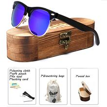 Wood Sunglasses,Ablibi Handmade Semi Rimless Polarized Wooden Sunglasses Women Drop Shipping