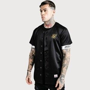 Image 2 - İspanya Sik ipek ipek beyzbol forması T gömlek erkekler yaz Streetwear erkek T Shirt Hip Hop Tee Camisetas Hombre Siksilk t shirt erkekler