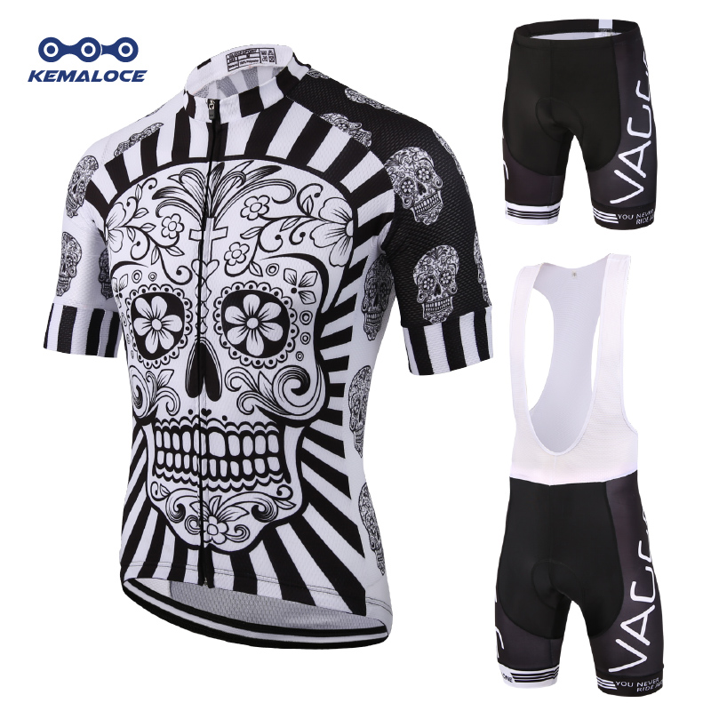 2019 Skelett Män Cykla Slitage Ropa Ciclismo Jersey Set Märke Uv Team Cykel Kläder Kit Fitness Mountain Road Race Bike Suit