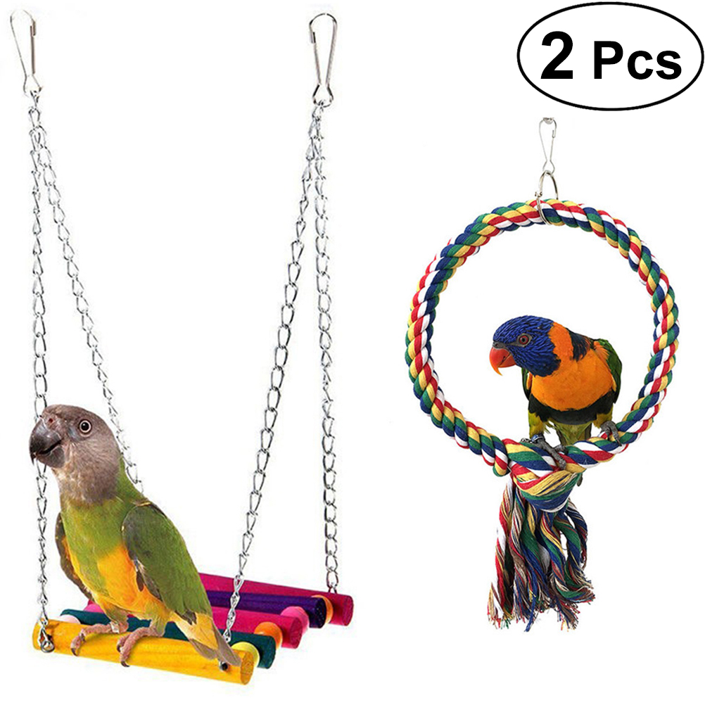Pet Cotton Ring Durable Colorful Funny Nontoxic Hanging Swing Cotton Ring for Parakeet Budgie Pet Bird Cockatiel durable plastic pet frisbee blue