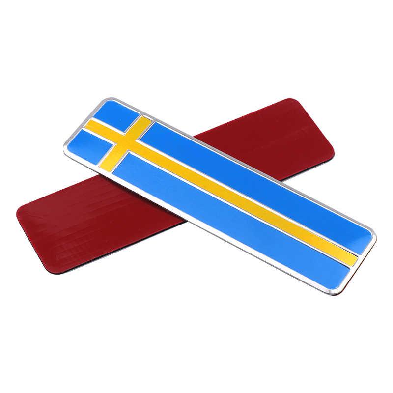 3D alüminyum İsveç bayrağı araba Styling Sticker amblem çıkartması rozeti SE vücut pencere kapı Volvo V70 XC60 s60 V60 V40
