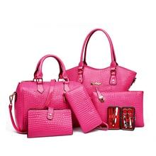 6 teile/satz Frauen Handtasche + Messenger Bag + Totes + Purse + Hohe Qualität Pu Leder Composite-taschen XN08