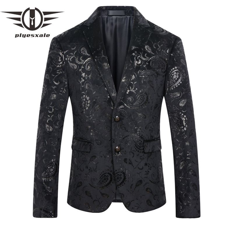 Plyesxale Men Sequin Blazer 2018 Stylish Mens Paisley Suit Slim Fit Black Mens Velvet Blazers Stage Costumes For Singers Q215