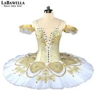 Hot sale Adult Nutcracker Professional Tutu Costume Women Fairy Doll Gold White Tulle Performance Pancake Stage Costume BT9152