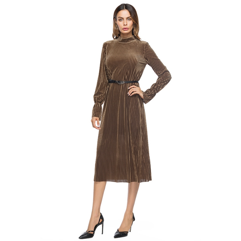 Women Dresses Striped Long-sleeved Hedging Collar Velvet Dress Black/Brown Color T6