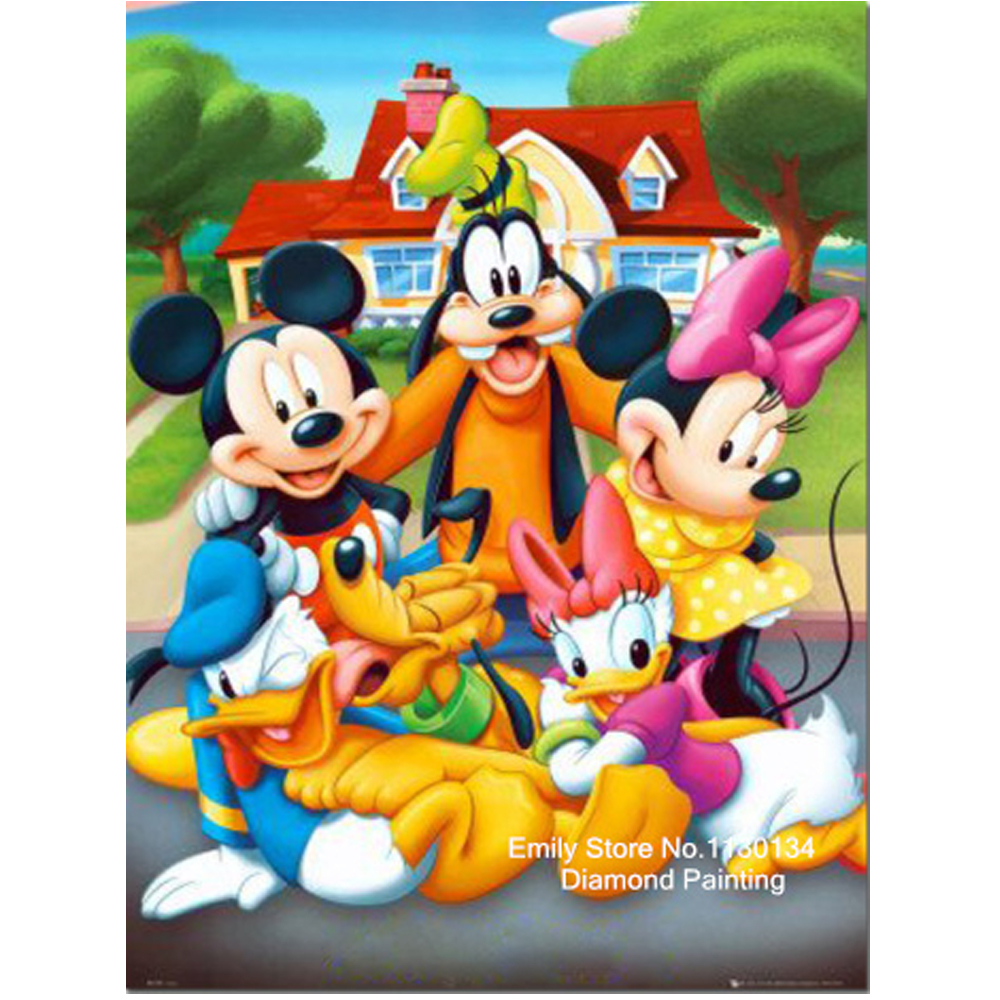mouse family new 100 full area highlight diamond needlework diy diamond painting kit 3d diamond