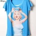 Camisa das mulheres T de verão 3D impressão Monroe Crowne azul T-shirt 322 Camiseta de manga curta senhora