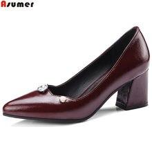 7df3bb25 Zapatos de tacón alto talla 33 para mujer con punta puntiaguda con tacón  cuadrado para mujer -46