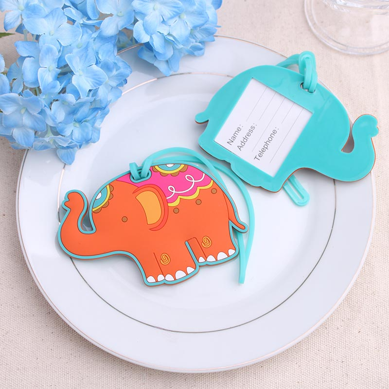50pcs/Lot+Wedding Favors Rubber Elephant Luggage Tags Baby Baptism Party Giveaway For Guest+FREE SHIPPING